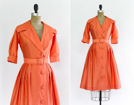 vintage 1950s shirt dress | orange cotton 50s dress | 1950s shirtwaist dress