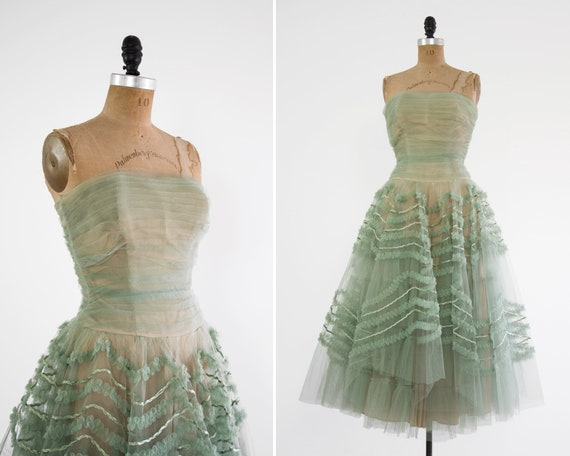 vintage 1950s tulle dress | 50s prom dress | formal sage green dress | 1950s party dress