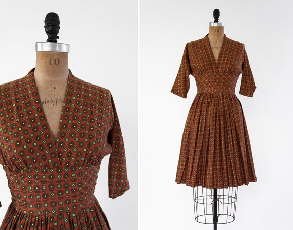 vintage 1950s cotton dress   rust orange dress   50s day dress