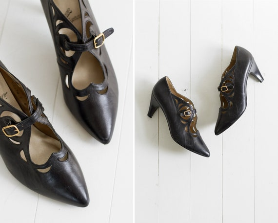 vintage 80s heels | pointed toe mary jane flapper shoes | heart cut out 80s pumps