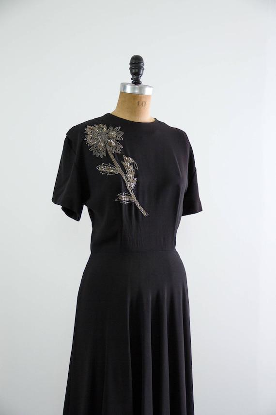 vintage 1940s rayon dress | 40s black dress | 194… - image 7