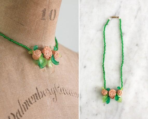 vintage 1940s necklace | 1950s choker | bakelite rose necklace | celluloid flower necklace | 40s 50s necklace