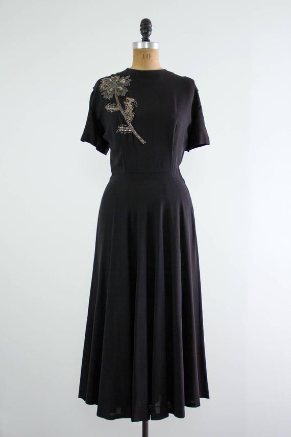 vintage 1940s rayon dress | 40s black dress | 194… - image 4