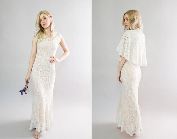 vintage 1930s wedding dress capelet set | 30s white lace wedding gown | 30s bias gown with cape bolero