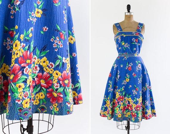 vintage 1940s sundress | 40s blue floral cotton se