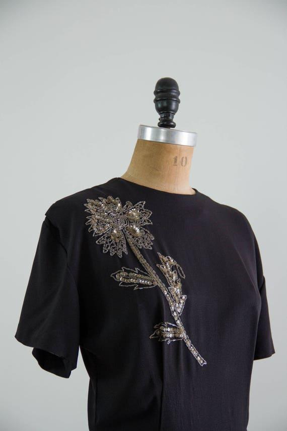 vintage 1940s rayon dress | 40s black dress | 194… - image 8