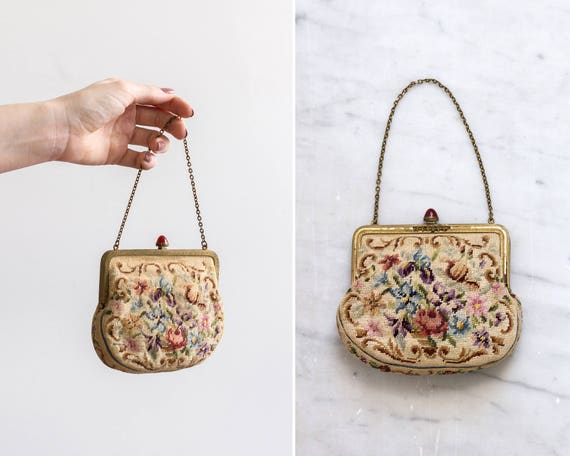 vintage 1930s floral needlepoint purse | 1920s handbag | antique petit point purse