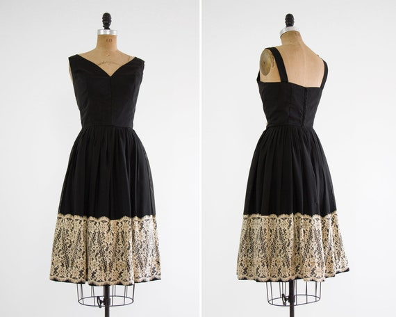 vintage 1950s cocktail dress | 50s chiffon party dress | 1950s black dress