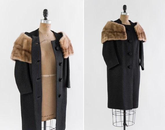 vintage 1960s coat | 1950s black brocade coat with fur trim | 50s 60s mink fur collar jacquard coat