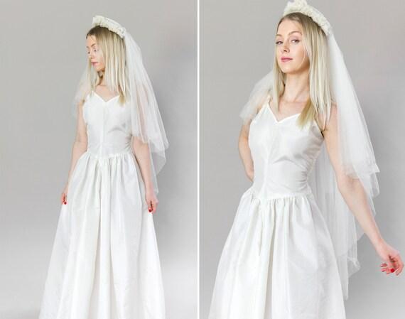 vintage 1940s wedding dress slip | 1950s wedding dress | 40s 50s white bridal taffeta slip gown