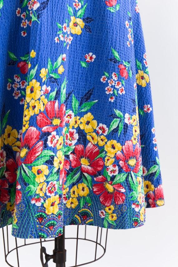 vintage 1940s sundress | 40s blue floral cotton s… - image 8
