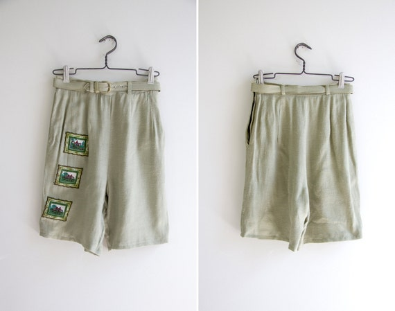 vintage 1950s shorts | green linen shorts | high waisted shorts
