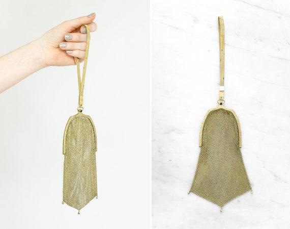 antique 1920s chainmail handbag | whiting and davis gold mesh purse | chain mail flapper purse