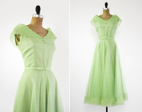 vintage 1950s green dress | 50s party dress | womens 50s cocktail dress