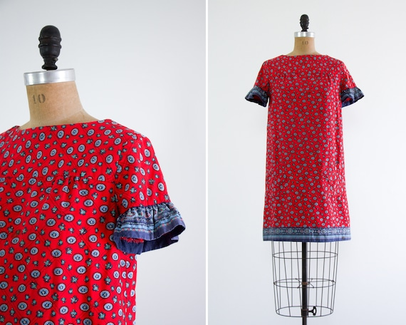 vintage red 70s dress | quilted dress | 1960s mini dress | 1970s womens clothes | 70s shift dress