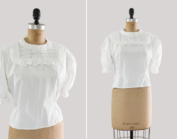 vintage 1950s blouse | white cotton puff sleeve top | 50s does 30s button back shirt