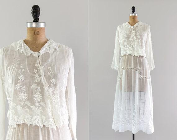 antique 1910s dress | cotton white edwardian dress