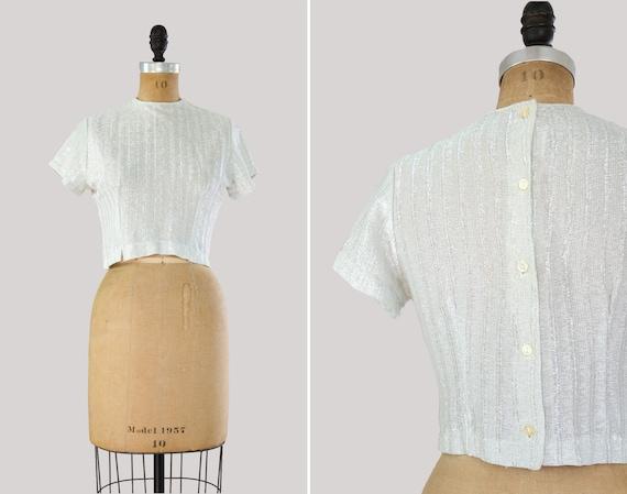 vintage 1950s silver lame top | 50s blouse | metallic button back shirt