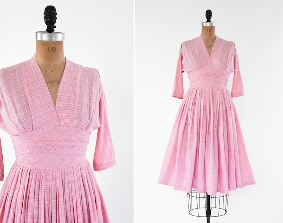 vintage 1950s pink dress | 50s cotton day dress |