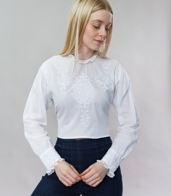 vintage 1910s blouse | Edwardian blouse white | 19