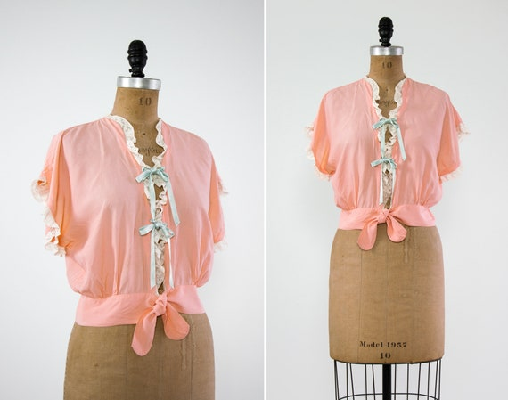 vintage 1940s bed jacket | 1930s lingerie | 1940s blouse | pink 1940s top | 40s shirt