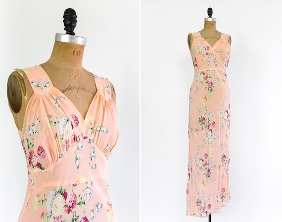 vintage 1930s slip dress | bias cut 30s chiffon dress | floral 30s 40s dress | 1940s floral rayon crepe dress