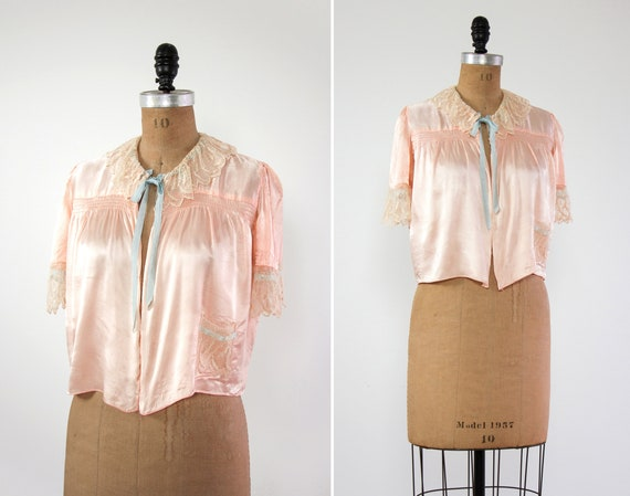 vintage 1930s bed jacket | pink satin 1930s top | 1940s blouse | vintage lingerie