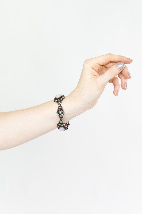 vintage 1950s bracelet | silver coro fire opal bracelet | 50s jewelry | pink and green bracelet