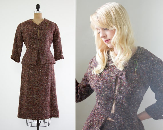 vintage 1940s womens suit | 1940s skirt suit | 1940s wool suit dress set | tweed jacket and skirt set