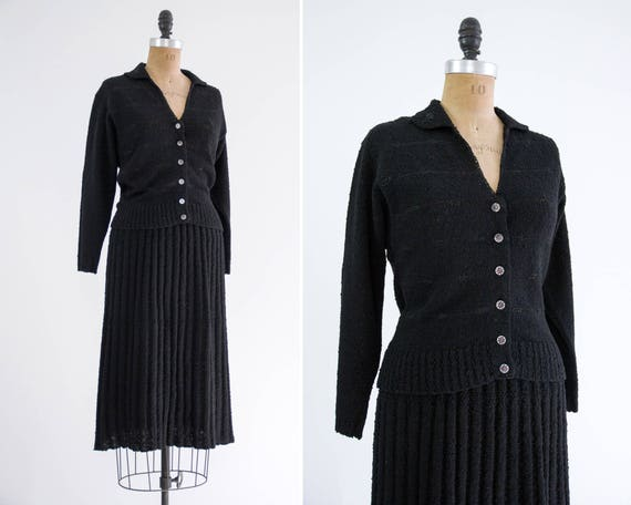 vintage 1940s black dress set | 1940s knit set | 1930s 1950s wool knit dress