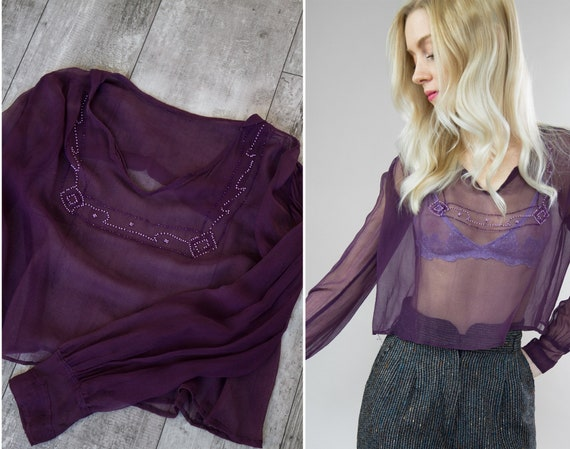vintage 1920s blouse | purple chiffon 20s top | be