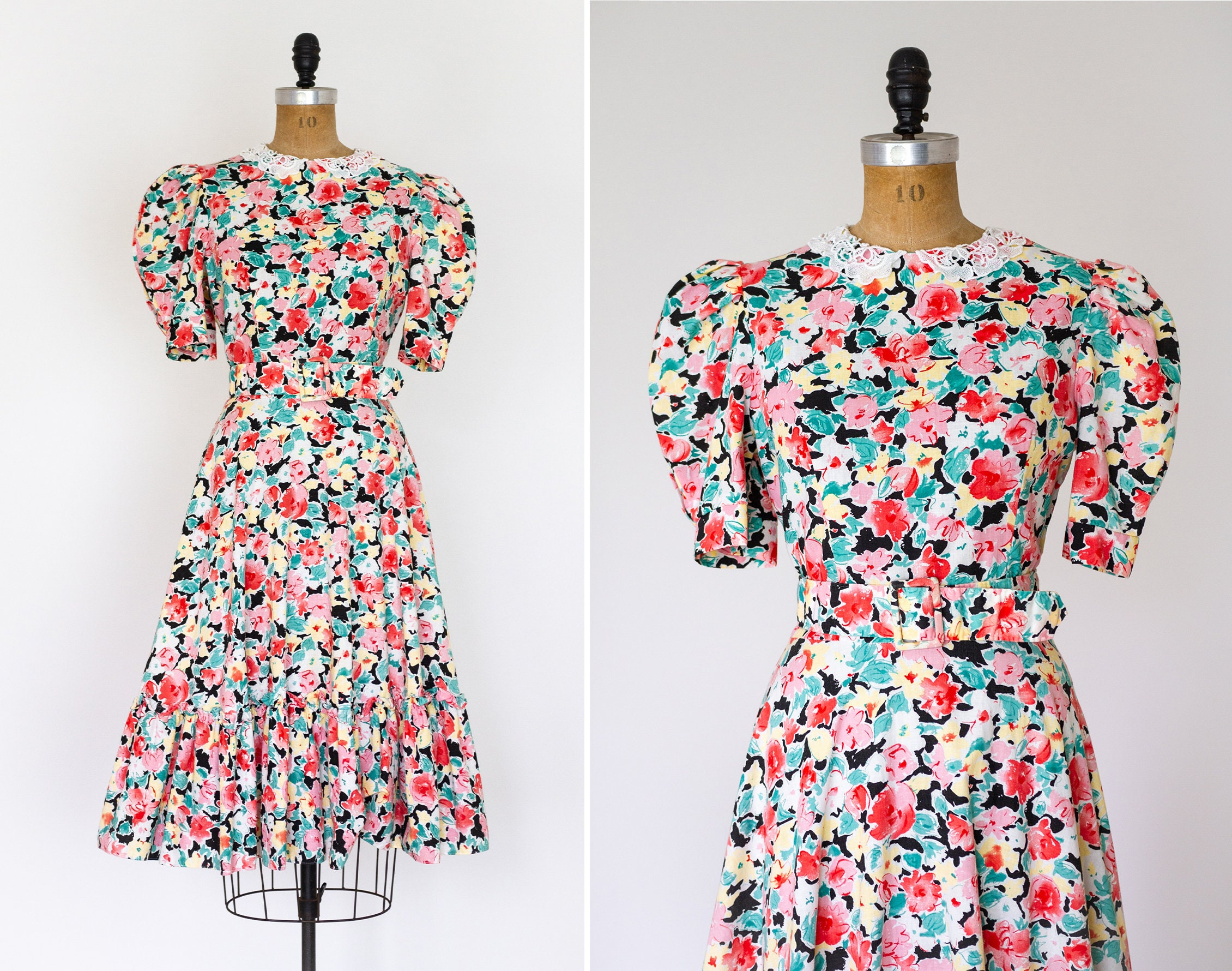 80s Dresses | Casual to Party Dresses Vintage 90S Floral Ruffle Dress  1980S 1990S Summer 80S Puff Sleeve $28.00 AT vintagedancer.com
