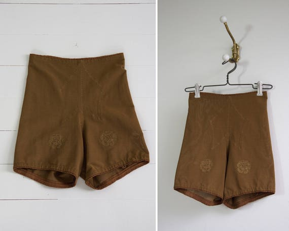 vintage 1960s girdle | brown vanity fair girdle | garter shorts | vintage shapewear panty girdle