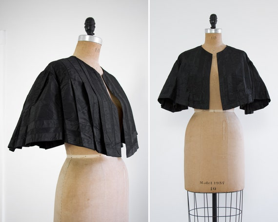 antique victorian capelet with batwing sleeves | black victorian mourning cape jacket | antique silk blouse