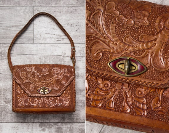 vintage 1970s tooled leather crossbody purse | 70s