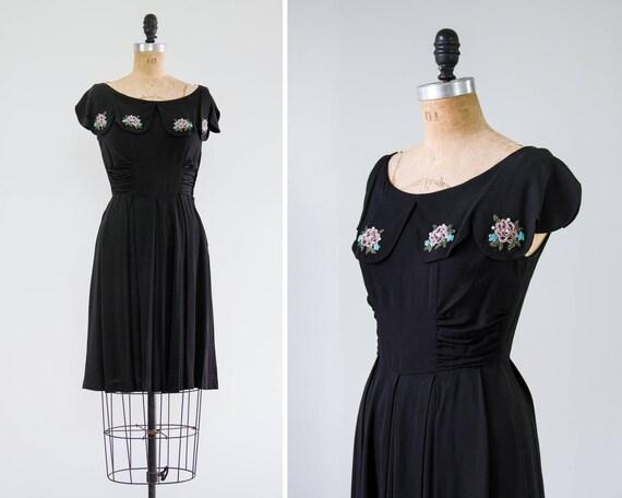 vintage 1940s crepe dress | 1940s womens black vintage party dress | 1940s day dress | 40s dress