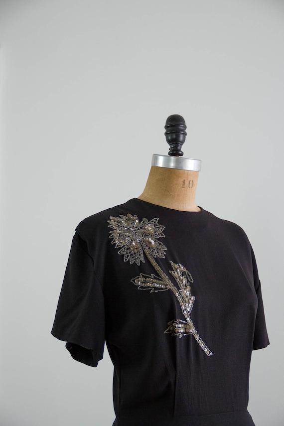 vintage 1940s rayon dress | 40s black dress | 194… - image 2