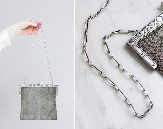 vintage 1920s handbag real silver chainmail | antique mesh purse | 20s flapper art deco purse