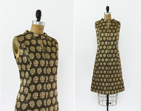 vintage 1960s cocktail dress | 60s party dress | black and gold brocade dress