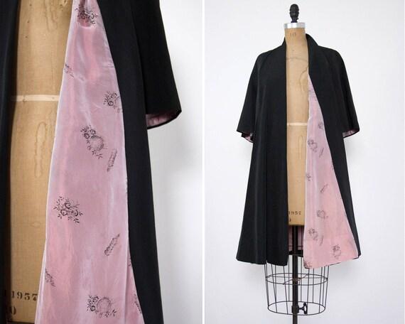 vintage 1940s swing coat | 40s 50s opera coat | 1930s overcoat | 1950s black coat | 1940s swing jacket