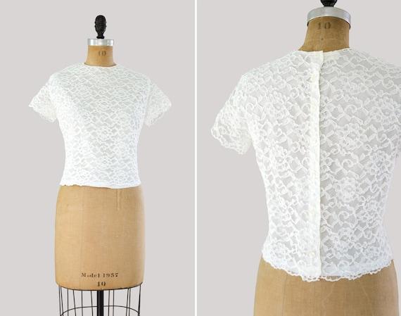 vintage 1960s blouse | 1950s white lace top | 50s shirt | 60s button back blouse