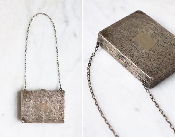 antique 1880s victorian handbag | sterling silver dance card box purse | 1800s victorian purse
