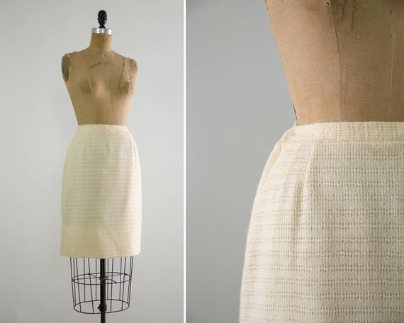 vintage 1960s pencil skirt | ivory 60s wool skirt | white knit wool skirt