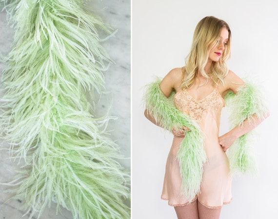 vintage 1920s ostrich feather boa | 20s 30s green feather boa | 1930s burlesque boa