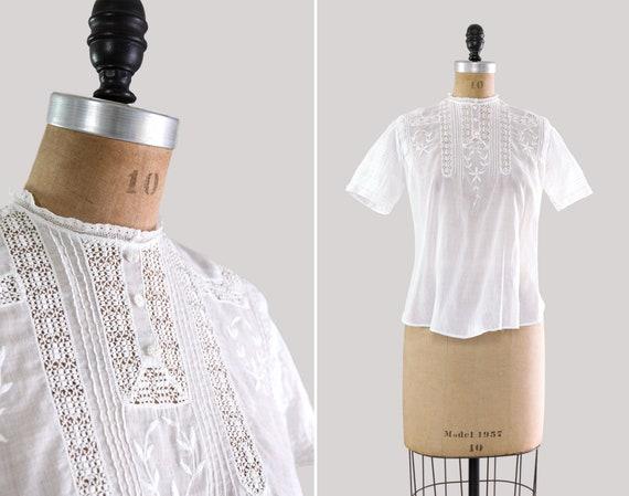 vintage 1910s Edwardian blouse | short sleeve cotton Victorian shirt | antique Edwardian top