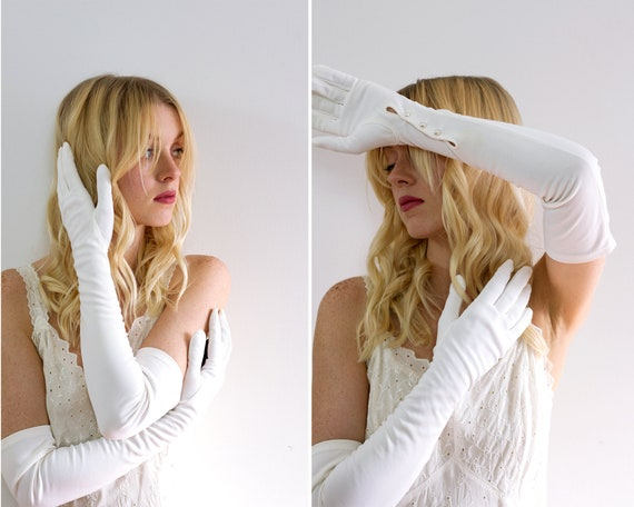 vintage long white gloves   1950s gloves women   50s formal costume gloves