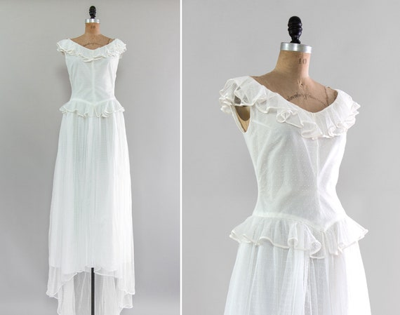 vintage 1940s wedding dress | 1950s swiss dot wedding dress | 40s 50s bridal gown with train