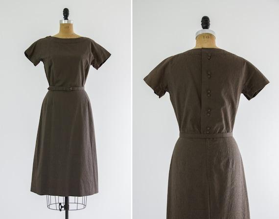 vintage 1950s day dress | olive green 50s cotton dress | 1950s wiggle dress