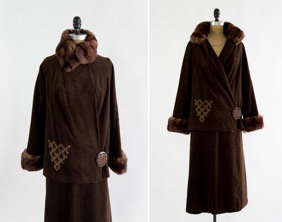 vintage 1920s walking suit | 20s fur wool skirt suit | 1920s jacket and skirt | 20s coat