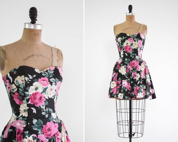 vintage 1980s floral dress | 90s mini dress | 80s prom dress | black rose print dress